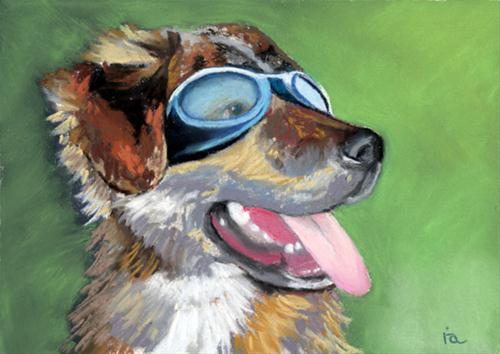 """Mars in goggles"" original fine art by Ria Hills"