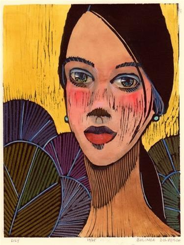 """""""Woodcut: Lily"""" original fine art by Belinda Del Pesco"""