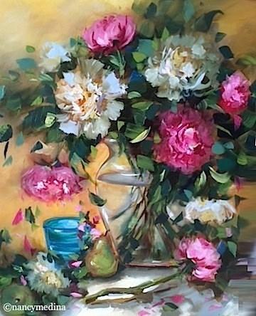 """""""Summer Rain Peonies - Flower Paintings by Nancy Medina"""" original fine art by Nancy Medina"""