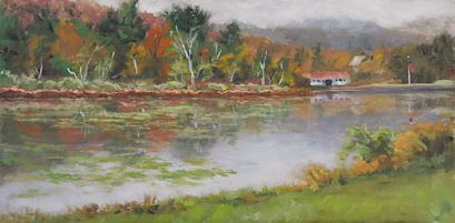 """Mountain Mist Beyond the Lake"" original fine art by Jamie Williams Grossman"