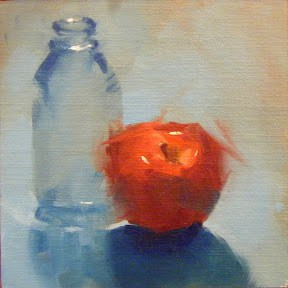 """BOTTLE AND RED DELICIOUS"" original fine art by Helen Cooper"
