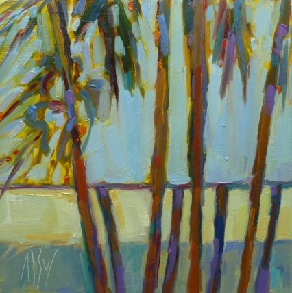 """""""Sunlit Palms 6x6 oil on panel. These palms stand next to my house and catch the late afternoon sun."""" original fine art by Mary Sheehan Winn"""