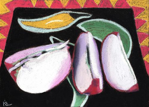 """apple slices"" original fine art by Ria Hills"