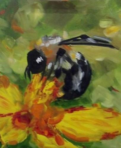 """""""Bee in the Cosmos"""" original fine art by Susan Elizabeth Jones"""