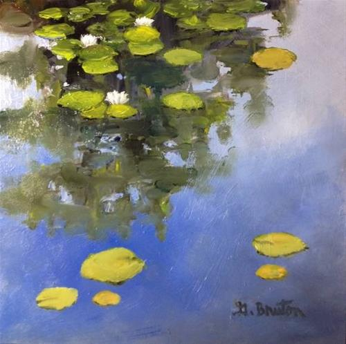 """Water Lilies and Sky"" original fine art by Gary Bruton"
