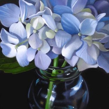 """Little Hydrangea 4x4"" original fine art by M Collier"