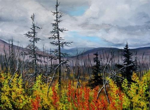 """Yukon Burn, the North Canol"" original fine art by Jackie Irvine"