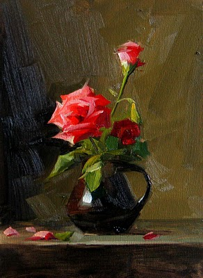 """Red Roses 2 --- Sold"" original fine art by Qiang Huang"