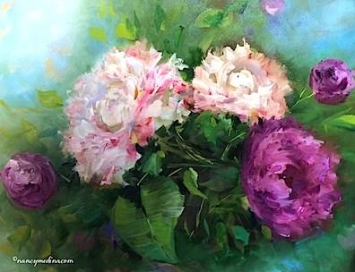 """Petite Garden Pink Peonies - Flower Paintings by Nancy Medina"" original fine art by Nancy Medina"