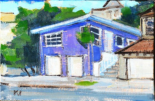 """Purple House in Hillcrest Painting"" original fine art by Kevin Inman"