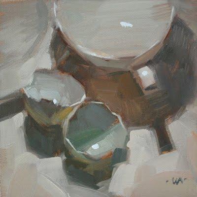 """Blue Shells on White"" original fine art by Carol Marine"
