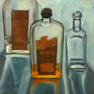 """Sun Bathers 6x6 oil"" original fine art by Claudia Hammer"