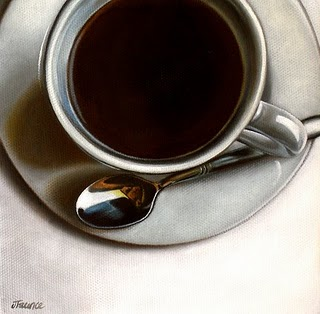 """White Porcelain & Black Coffee"" original fine art by Jelaine Faunce"