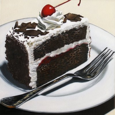 """Cherry Topped Chocolate Cake"" original fine art by Jelaine Faunce"