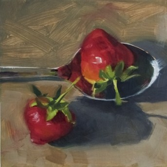 """Oil Painting of Strawberries with a Spoon"" original fine art by Deb Anderson"