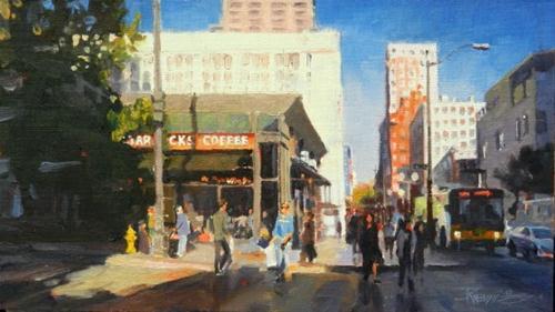 """Westlake Starbucks Seattle city oil painting, by Robin Weiss"" original fine art by Robin Weiss"