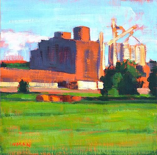 """Grain Elevator, Oklahoma"" original fine art by Kevin Inman"