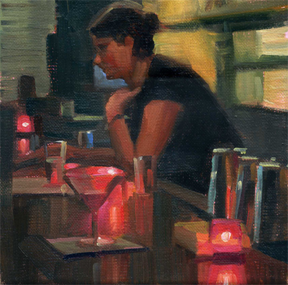 """Pink Candles"" original fine art by Kathy Weber"