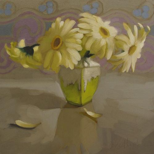 """""""Daisies on Gray painting"""" original fine art by Diane Hoeptner"""