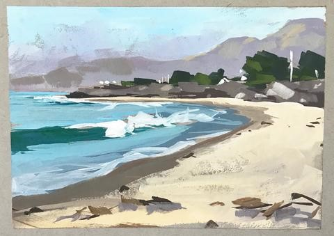 """Plein Air Carpinteria Beach"" original fine art by Sharon Schock"