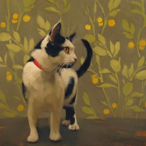 """""""Indoor Explorer a new cat painting by Hoeptner"""" original fine art by Diane Hoeptner"""