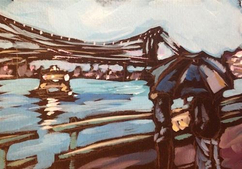 """Brooklyn Bridge and the Water Taxi"" original fine art by Kat Corrigan"