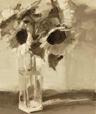 """Sunflowers In Water Value Study"" original fine art by Laurel Daniel"