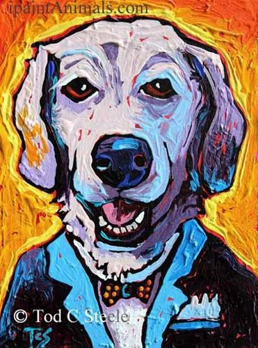 """""""Lab Painting, Dog Painting, 'Sir Newton Butzniff' - 8x6 - by Tod C Steele"""" original fine art by Tod Steele"""