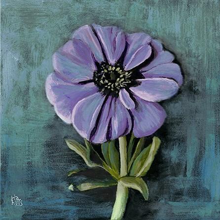 """""""Purple Zinnia"""" original fine art by Ria Hills"""