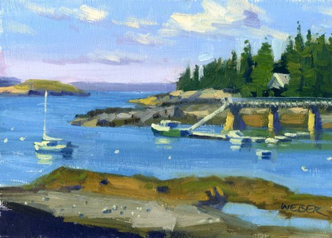 """Sunset Yacht Club"" original fine art by Kathy Weber"