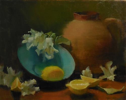 """Blue Bowl"" original fine art by Kathy Weber"