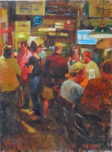 """Evening at the Land Ho"" original fine art by Kathy Weber"