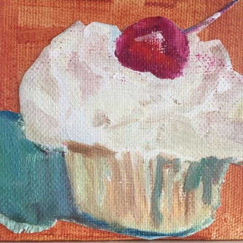 """""""Cupcake with Cherry 3/4 view"""" original fine art by Libby Gilpatric"""