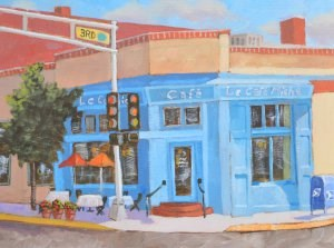 """Blue Cafe"" original fine art by Robert Frankis"