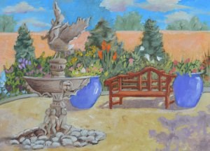 """Fountain in the Park"" original fine art by Robert Frankis"