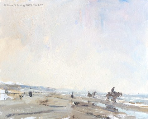 """Seascape winter 23 Fascinating light (and horses) (available)"" original fine art by Roos Schuring"