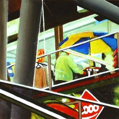 """Abstract- Woman Shopping At Mall"" original fine art by Gerard Boersma"