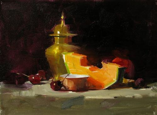 """""""Cantaloupe and Cherries --- Sold"""" original fine art by Qiang Huang"""