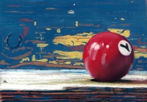 """number 7 pool ball painting"" original fine art by Ria Hills"