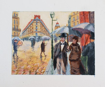 """Miniature Painting — Paris Street Scene after Caillebotte"" original fine art by Jamie Williams Grossman"