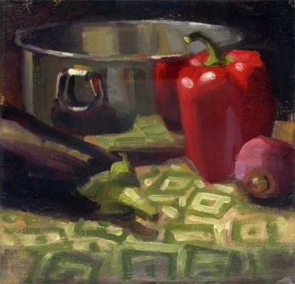 """Pepper, Reflected"" original fine art by Kathy Weber"