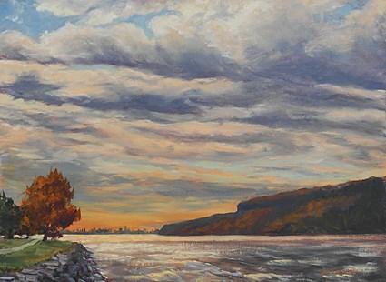 """New York City Skyline from the Hudson River"" original fine art by Jamie Williams Grossman"