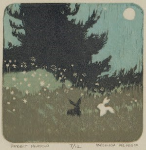 """Reduction Linocut: Rabbit Meadow (4 color) #printmaking #reliefprint"" original fine art by Belinda Del Pesco"