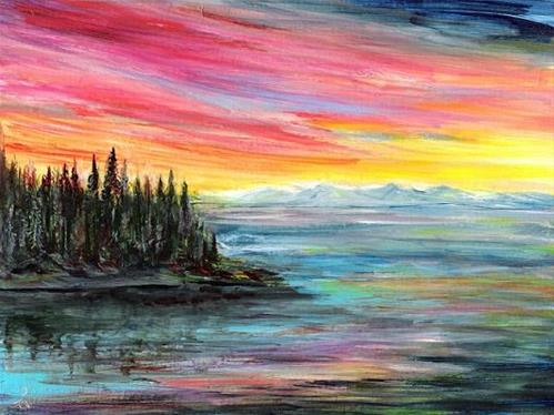 """3162 - Matted - Luminous Sunset - Windpower"" original fine art by Sea Dean"