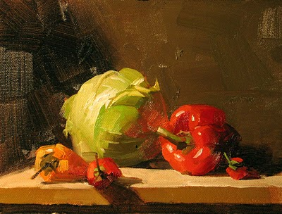 """Veggie Time --- Sold"" original fine art by Qiang Huang"