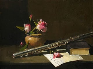 """Flute and Roses --- Sold"" original fine art by Qiang Huang"