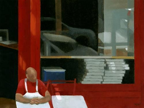 """Pizza Man"" original fine art by Nancy Herman"