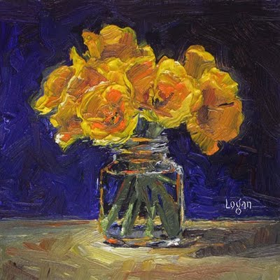 """Poppies in Jar"" original fine art by Raymond Logan"