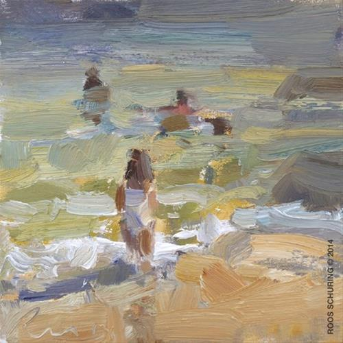 """The last Summer Seascapes Plein air"" original fine art by Roos Schuring"