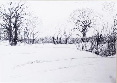 """""""Winter Trees Along I - 40"""" original fine art by Selby Minner"""